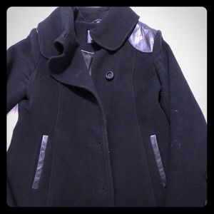 MACKAGE wool coat with leather details